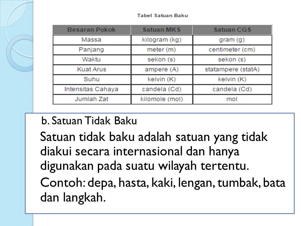 b. Satuan Tidak Baku Satuan tidak baku adalah satuan yang tidak diakui secara internasional dan hanya digunakan pada suatu wilayah tertentu. Contoh: d