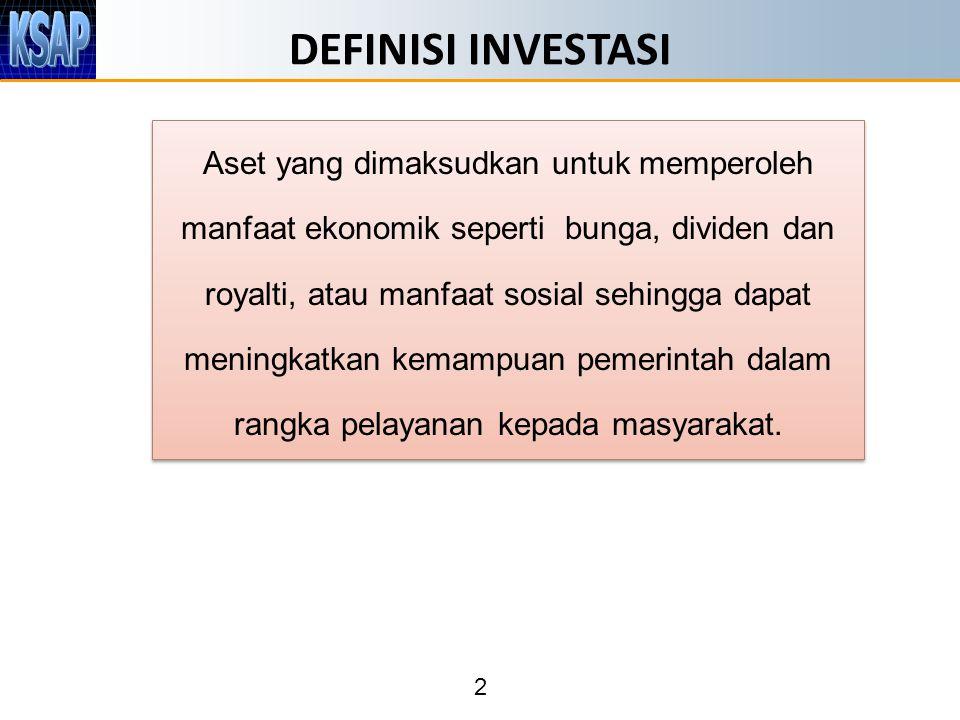 2 DEFINISI INVESTASI Aset yang dimaksudkan untuk memperoleh manfaat ekonomik seperti bunga, dividen dan royalti, atau manfaat sosial sehingga dapat me