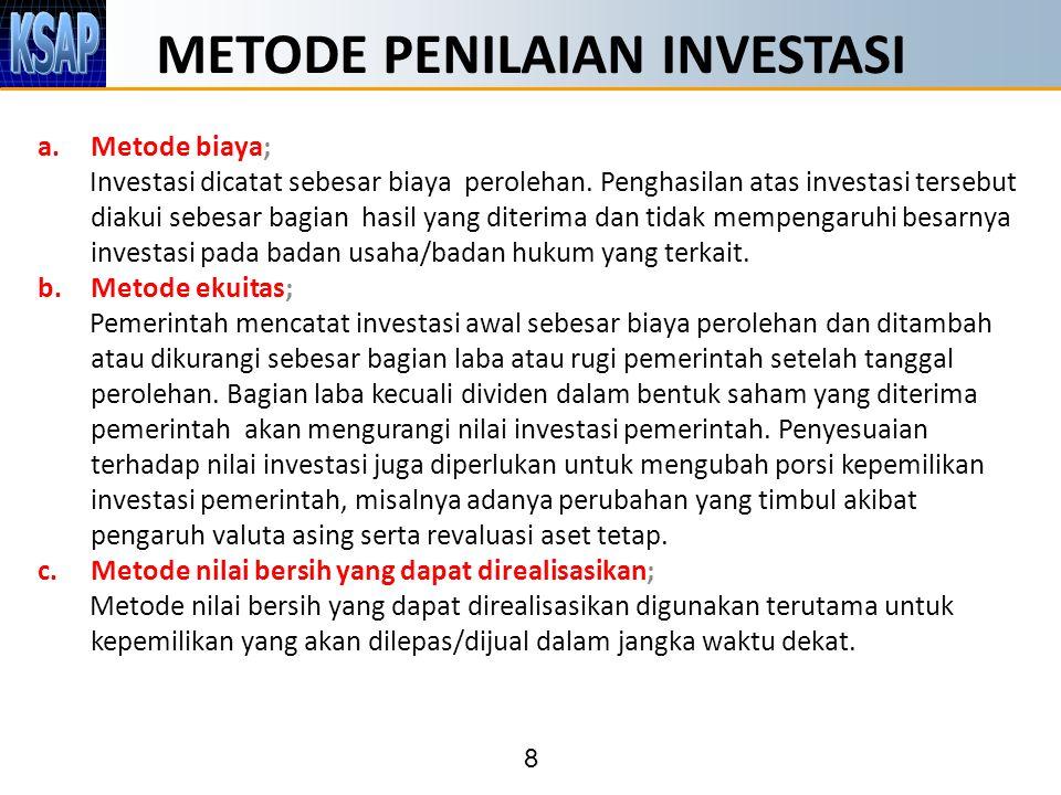 8 METODE PENILAIAN INVESTASI a.Metode biaya; Investasi dicatat sebesar biaya perolehan. Penghasilan atas investasi tersebut diakui sebesar bagian hasi