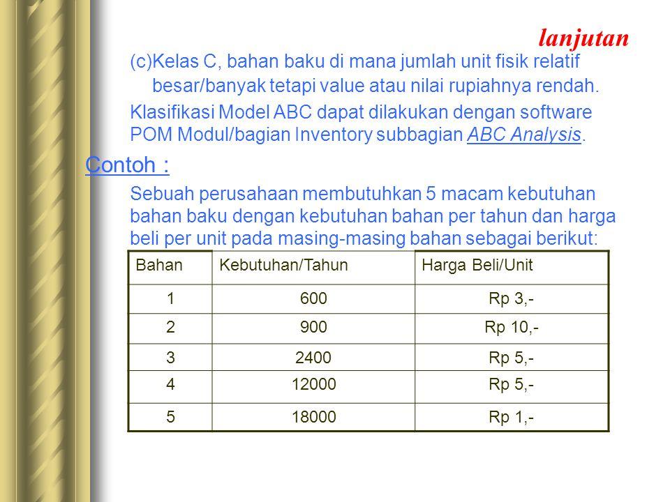 lanjutan (c)Kelas C, bahan baku di mana jumlah unit fisik relatif besar/banyak tetapi value atau nilai rupiahnya rendah. Klasifikasi Model ABC dapat d