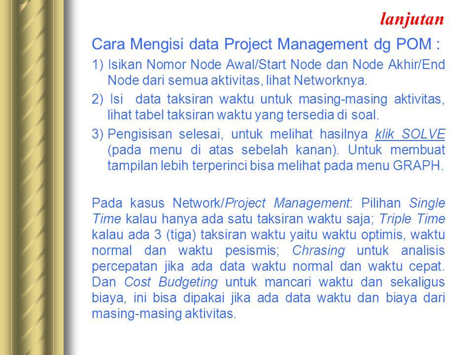 lanjutan Cara Mengisi data Project Management dg POM : 1) Isikan Nomor Node Awal/Start Node dan Node Akhir/End Node dari semua aktivitas, lihat Networ