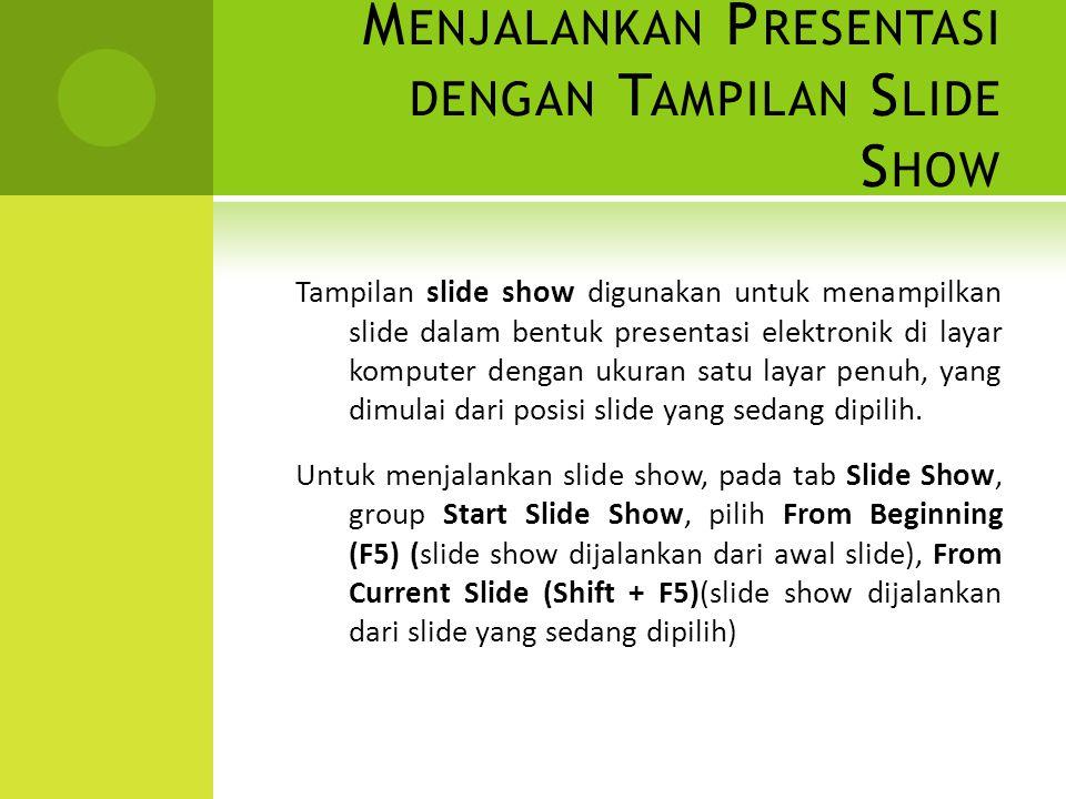 M ENJALANKAN P RESENTASI DENGAN T AMPILAN S LIDE S HOW Tampilan slide show digunakan untuk menampilkan slide dalam bentuk presentasi elektronik di lay