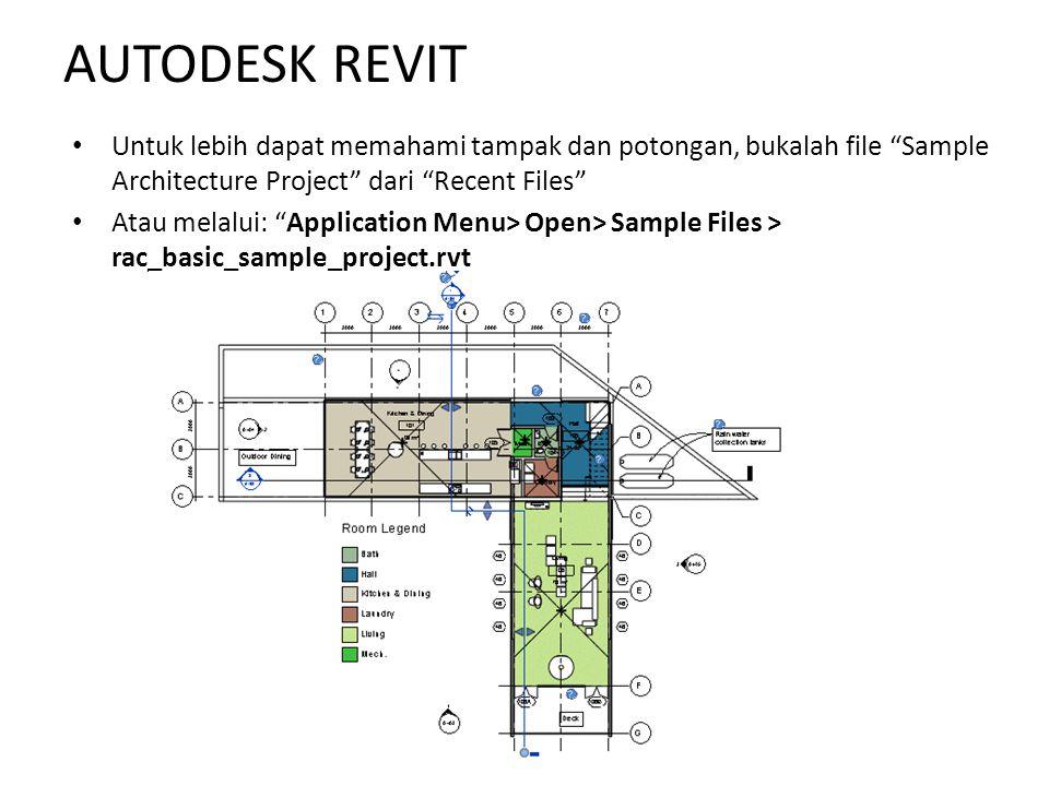 """Untuk lebih dapat memahami tampak dan potongan, bukalah file """"Sample Architecture Project"""" dari """"Recent Files"""" Atau melalui: """"Application Menu> Open>"""