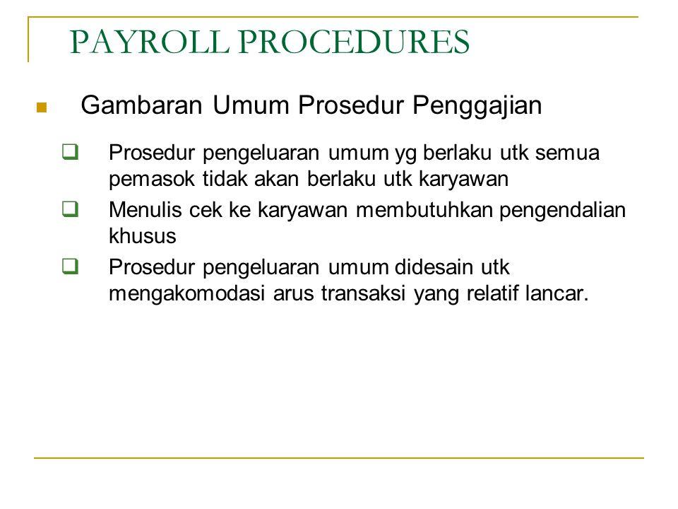 Gambaran Umum Prosedur Penggajian  Prosedur pengeluaran umum yg berlaku utk semua pemasok tidak akan berlaku utk karyawan  Menulis cek ke karyawan m