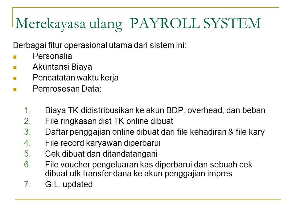 Berbagai fitur operasional utama dari sistem ini: Personalia Akuntansi Biaya Pencatatan waktu kerja Pemrosesan Data: 1.Biaya TK didistribusikan ke aku