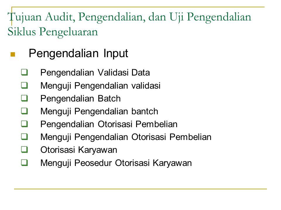 Pengendalian Input  Pengendalian Validasi Data  Menguji Pengendalian validasi  Pengendalian Batch  Menguji Pengendalian bantch  Pengendalian Otor