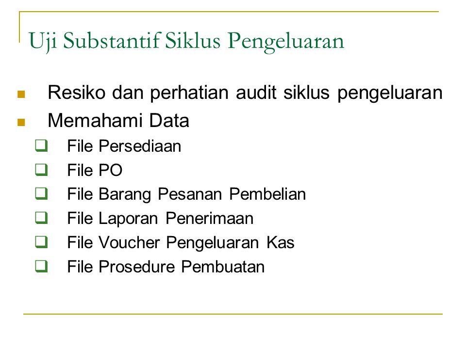Resiko dan perhatian audit siklus pengeluaran Memahami Data  File Persediaan  File PO  File Barang Pesanan Pembelian  File Laporan Penerimaan  Fi