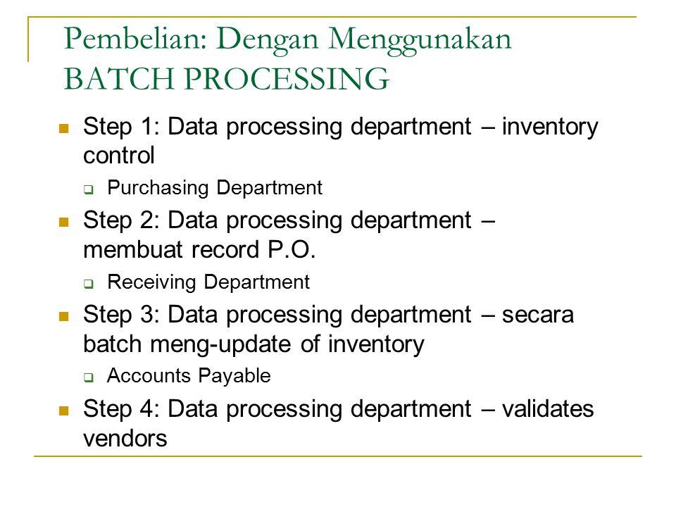 Step 1: Data processing department – inventory control  Purchasing Department Step 2: Data processing department – membuat record P.O.  Receiving De