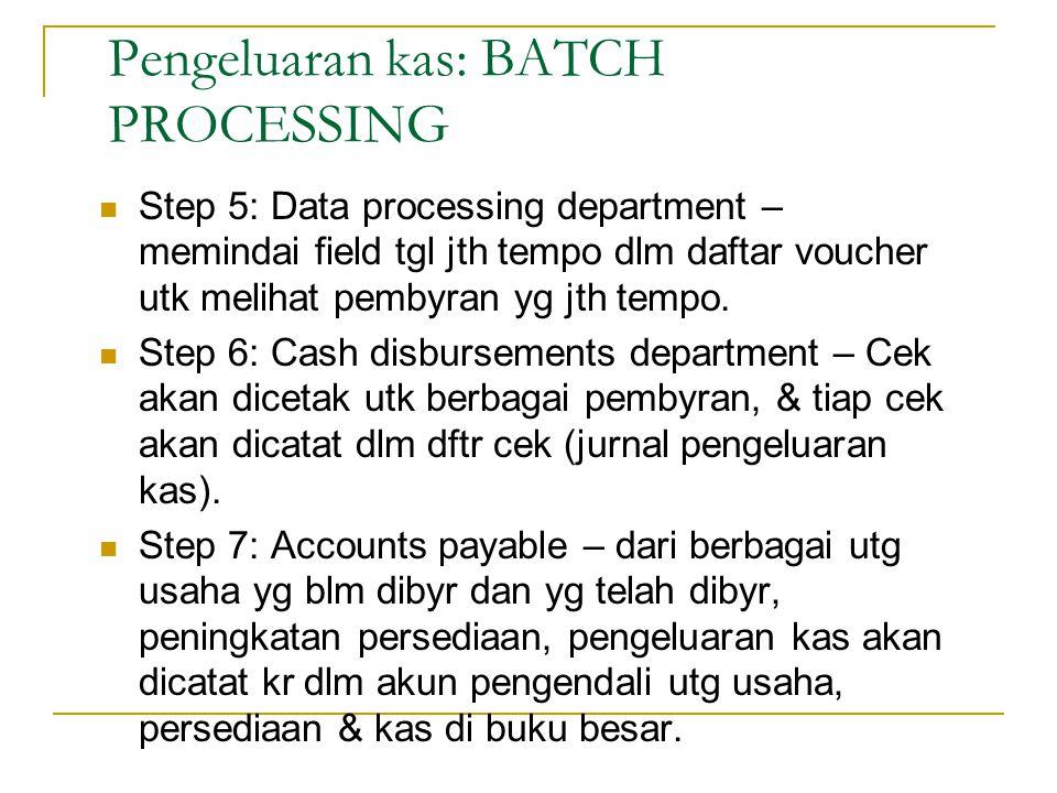 Step 5: Data processing department – memindai field tgl jth tempo dlm daftar voucher utk melihat pembyran yg jth tempo. Step 6: Cash disbursements dep