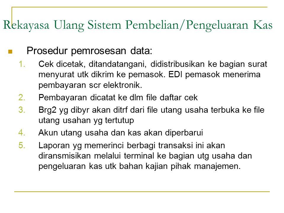 Prosedur pemrosesan data: 1.Cek dicetak, ditandatangani, didistribusikan ke bagian surat menyurat utk dikrim ke pemasok. EDI pemasok menerima pembayar