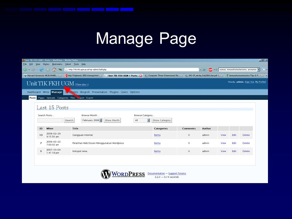 Manage Page
