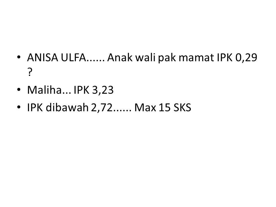 ANISA ULFA...... Anak wali pak mamat IPK 0,29 ? Maliha... IPK 3,23 IPK dibawah 2,72...... Max 15 SKS