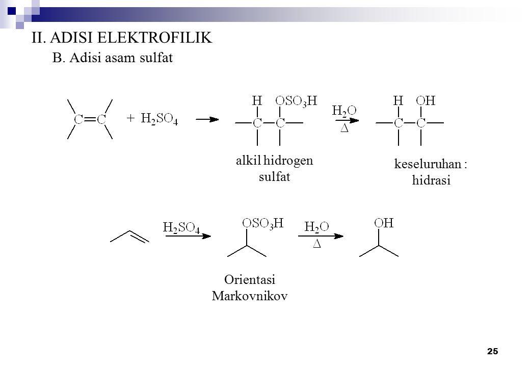 25 II. ADISI ELEKTROFILIK B. Adisi asam sulfat alkil hidrogen sulfat keseluruhan : hidrasi Orientasi Markovnikov