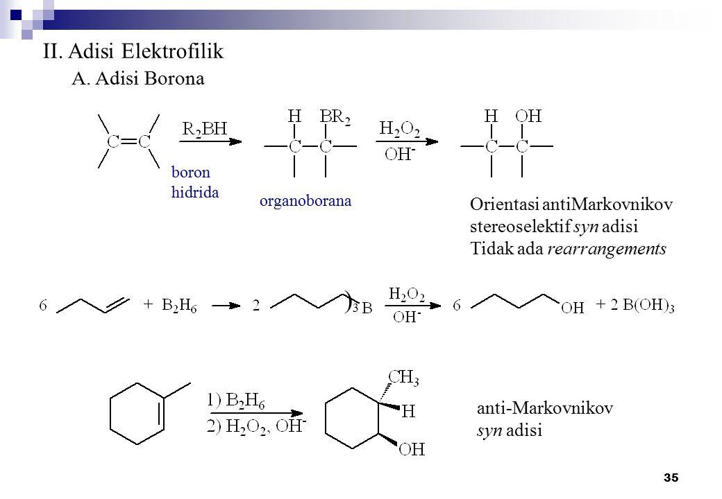 35 II. Adisi Elektrofilik A. Adisi Borona boron hidrida organoborana Orientasi antiMarkovnikov stereoselektif syn adisi Tidak ada rearrangements )3)3