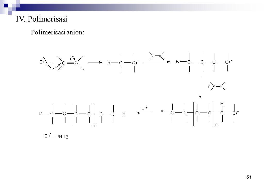 51 IV. Polimerisasi Polimerisasi anion:
