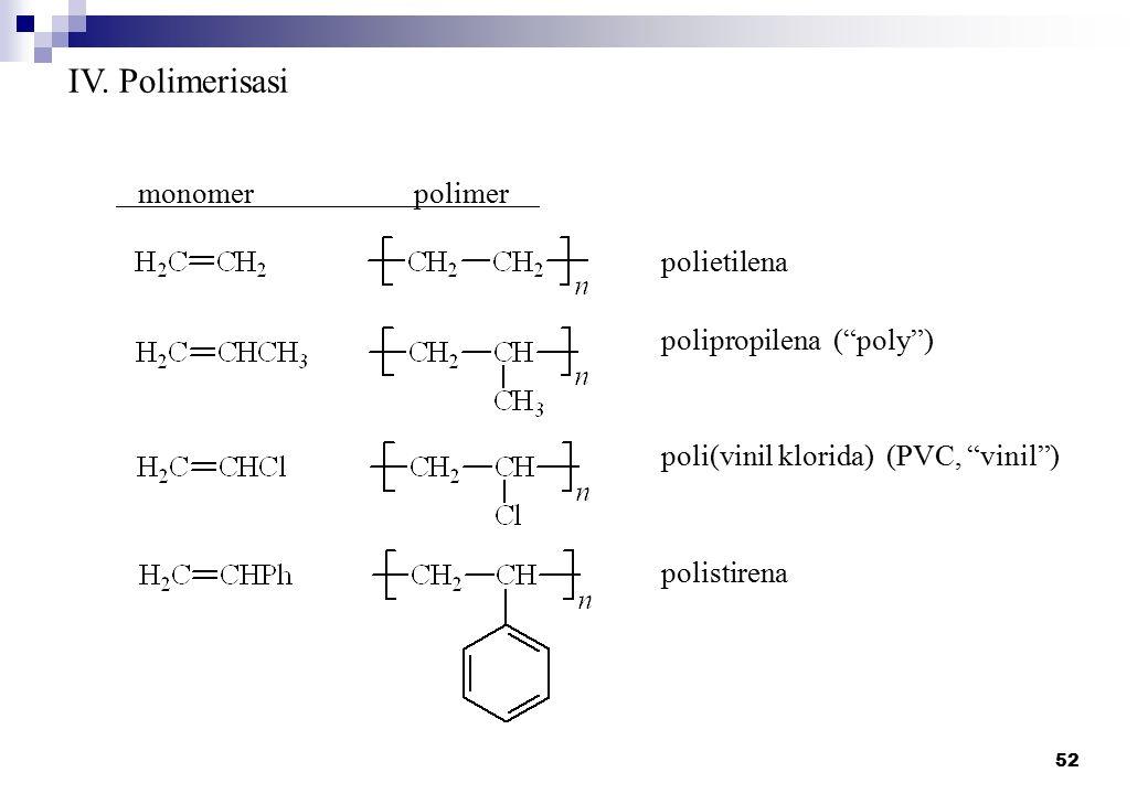 """52 IV. Polimerisasi monomerpolimer polietilena polipropilena (""""poly"""") poli(vinil klorida) (PVC, """"vinil"""") polistirena"""