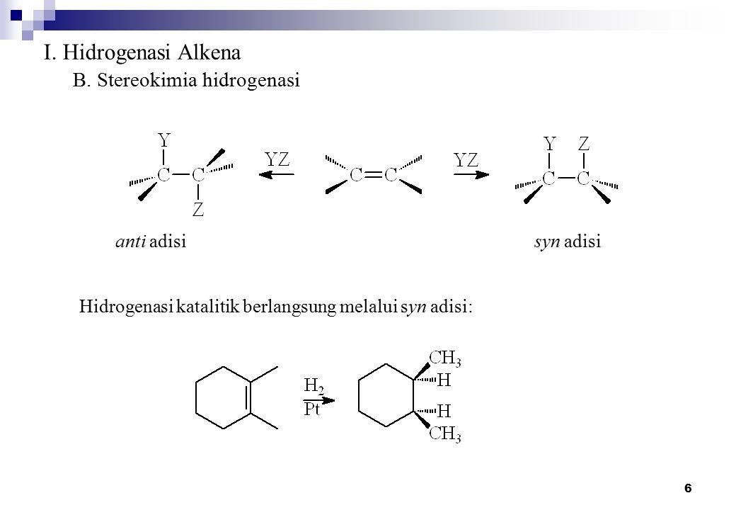6 I. Hidrogenasi Alkena B. Stereokimia hidrogenasi anti adisisyn adisi Hidrogenasi katalitik berlangsung melalui syn adisi: