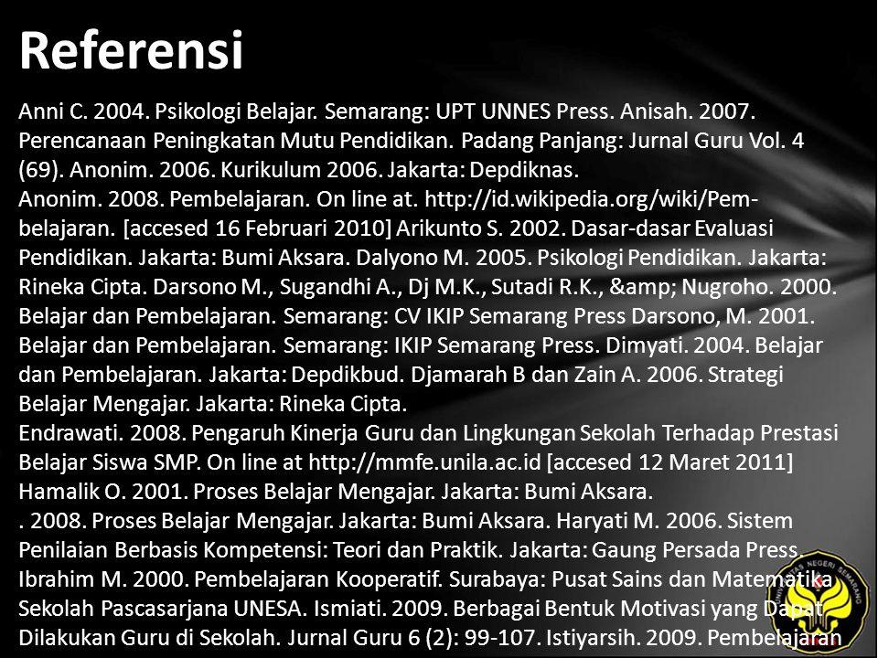 Referensi Anni C. 2004. Psikologi Belajar. Semarang: UPT UNNES Press. Anisah. 2007. Perencanaan Peningkatan Mutu Pendidikan. Padang Panjang: Jurnal Gu