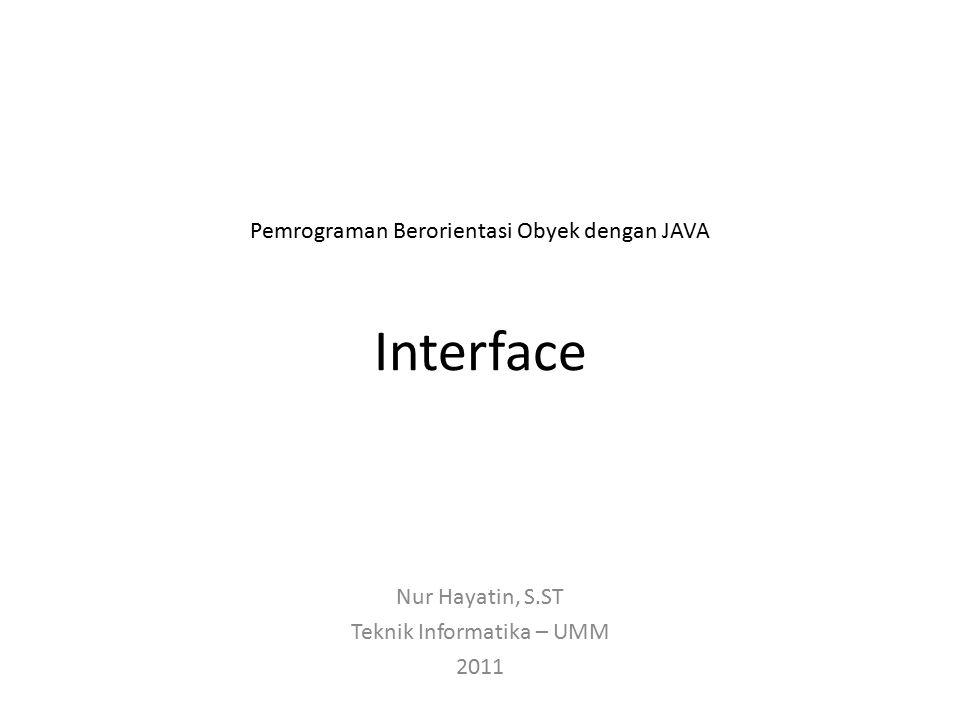 Sub Topik Deklarasi Interface Interface Modifier Implementasi Interface Hirarki Interface Inheritance pada interface Interface, class, dan abstract class