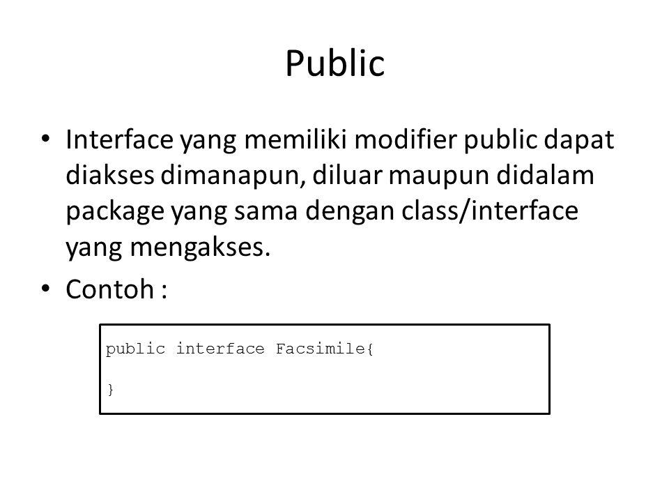 Protected Modifier protected hanya berlaku untuk member- interface yang ada didalam sebuah class.