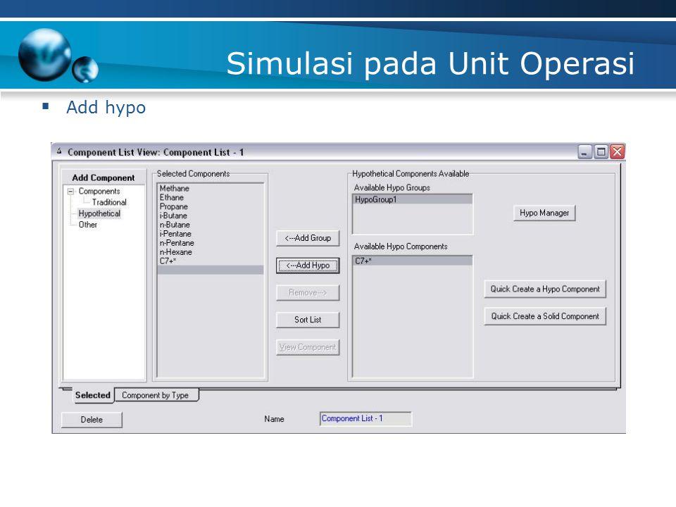 Simulasi pada Unit Operasi  Add hypo