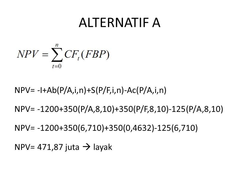 ALTERNATIF A NPV= -I+Ab(P/A,i,n)+S(P/F,i,n)-Ac(P/A,i,n) NPV= -1200+350(P/A,8,10)+350(P/F,8,10)-125(P/A,8,10) NPV= -1200+350(6,710)+350(0,4632)-125(6,710) NPV= 471,87 juta  layak ekonomis