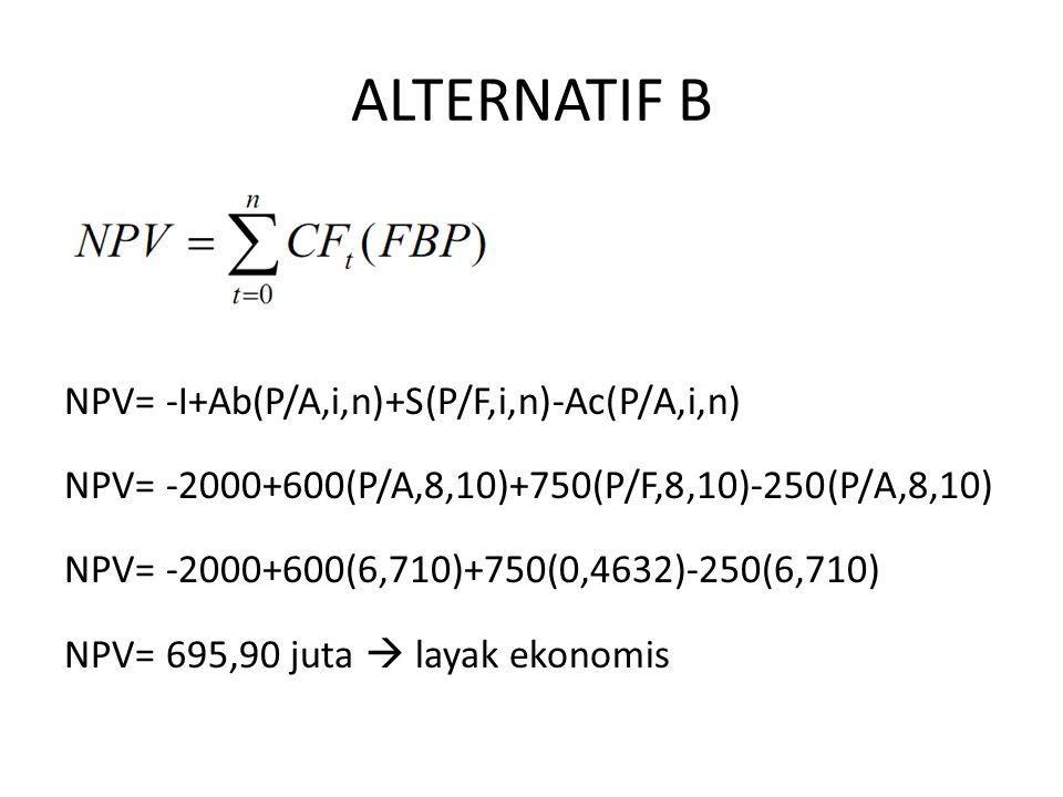 ALTERNATIF B NPV= -I+Ab(P/A,i,n)+S(P/F,i,n)-Ac(P/A,i,n) NPV= -2000+600(P/A,8,10)+750(P/F,8,10)-250(P/A,8,10) NPV= -2000+600(6,710)+750(0,4632)-250(6,710) NPV= 695,90 juta  layak ekonomis
