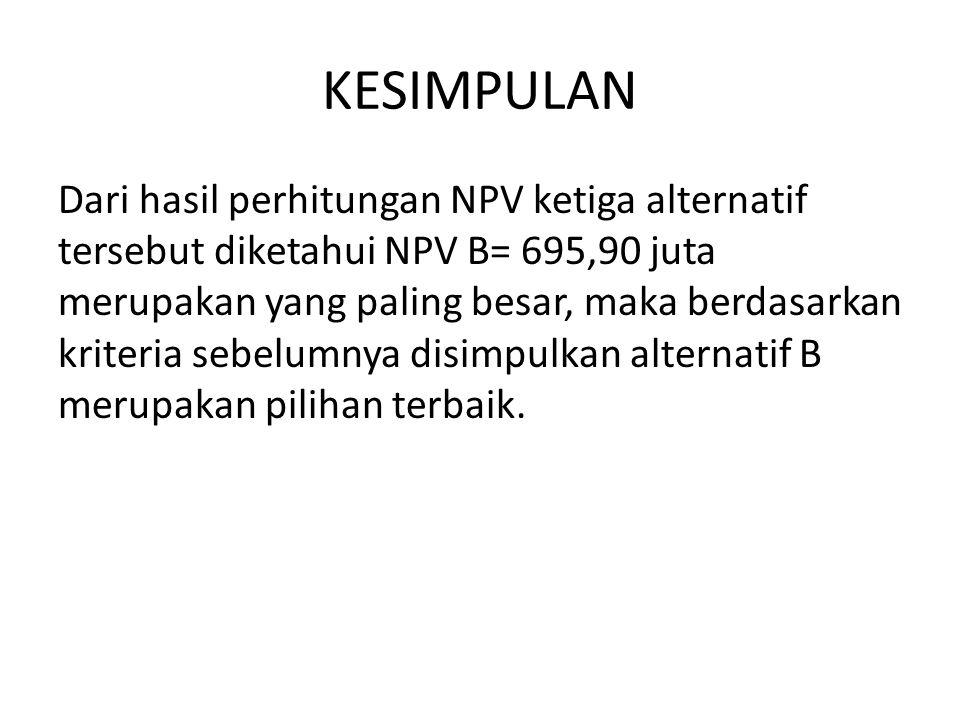 KESIMPULAN Dari hasil perhitungan NPV ketiga alternatif tersebut diketahui NPV B= 695,90 juta merupakan yang paling besar, maka berdasarkan kriteria sebelumnya disimpulkan alternatif B merupakan pilihan terbaik.