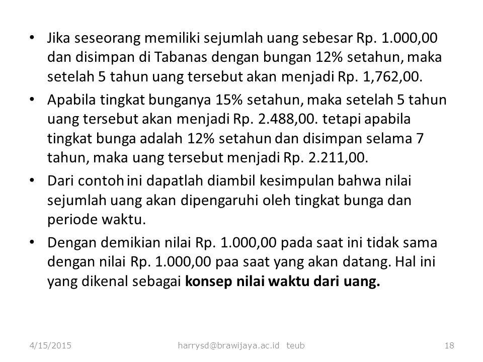 Jika seseorang memiliki sejumlah uang sebesar Rp. 1.000,00 dan disimpan di Tabanas dengan bungan 12% setahun, maka setelah 5 tahun uang tersebut akan