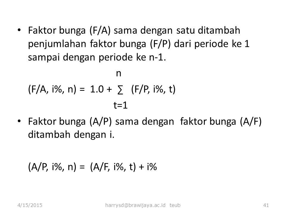 Faktor bunga (F/A) sama dengan satu ditambah penjumlahan faktor bunga (F/P) dari periode ke 1 sampai dengan periode ke n-1. n (F/A, i%, n) = 1.0 + ∑ (