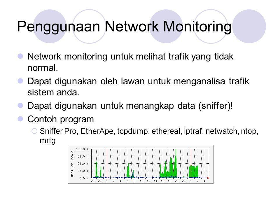 Penggunaan Network Monitoring Network monitoring untuk melihat trafik yang tidak normal.