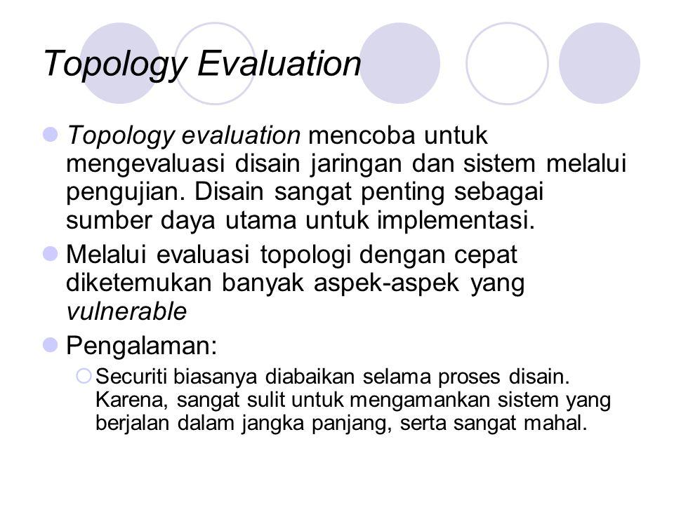 Topology Evaluation Topology evaluation mencoba untuk mengevaluasi disain jaringan dan sistem melalui pengujian.