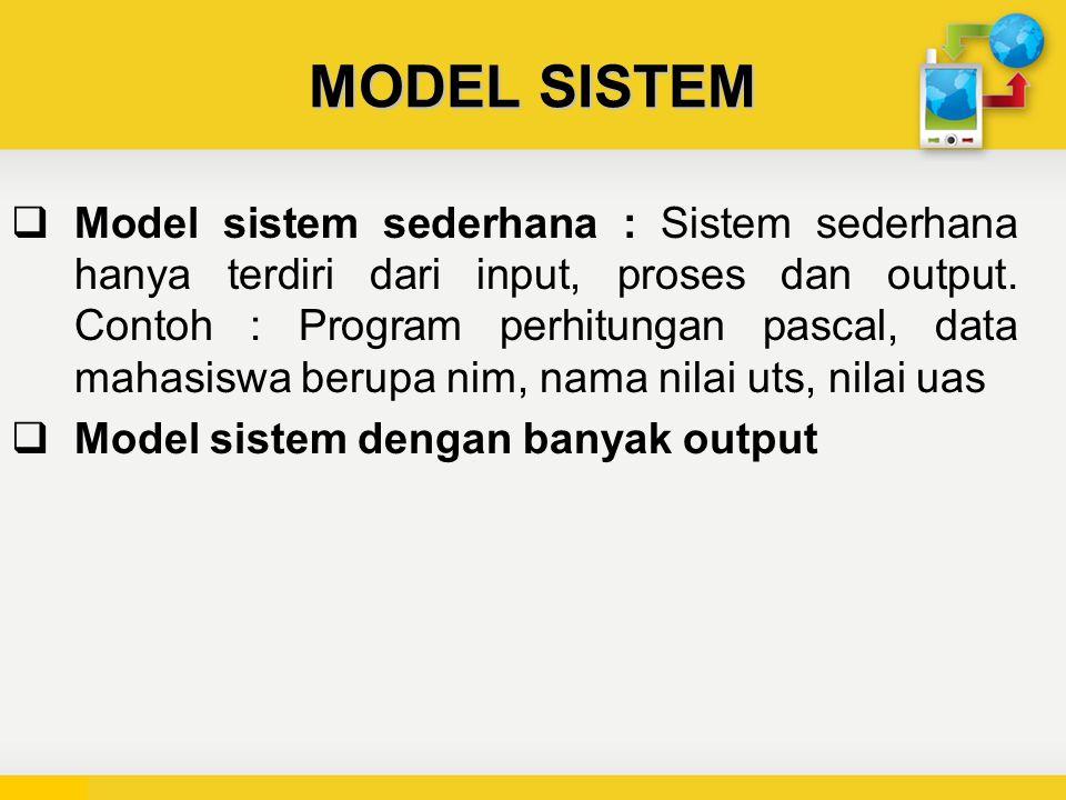 MODEL SISTEM  Model sistem sederhana : Sistem sederhana hanya terdiri dari input, proses dan output.