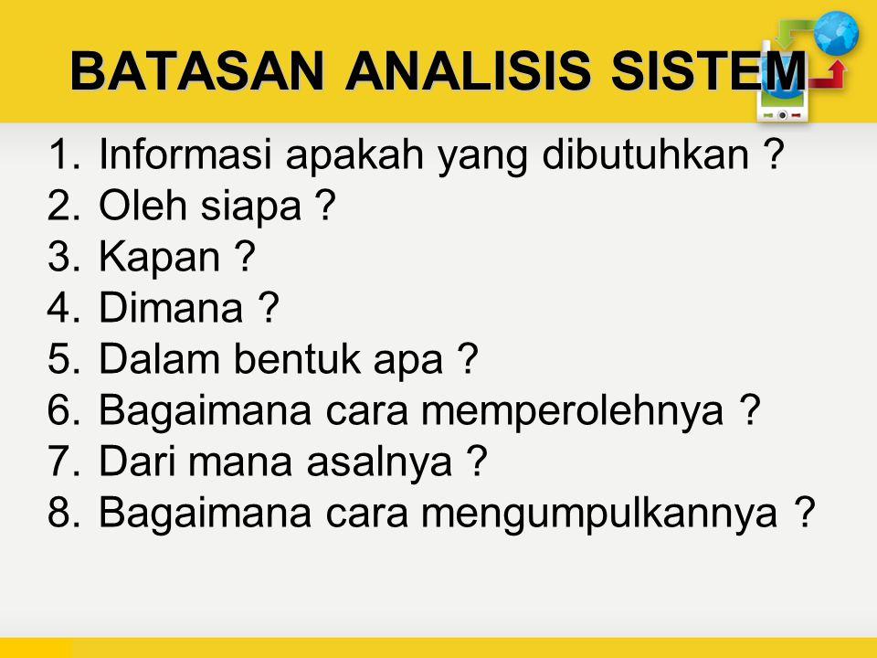 BATASAN ANALISIS SISTEM 1.Informasi apakah yang dibutuhkan .