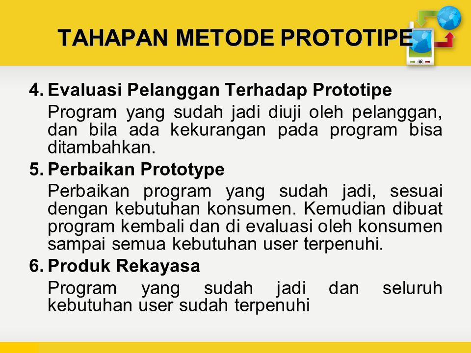TAHAPAN METODE PROTOTIPE 4.Evaluasi Pelanggan Terhadap Prototipe Program yang sudah jadi diuji oleh pelanggan, dan bila ada kekurangan pada program bisa ditambahkan.