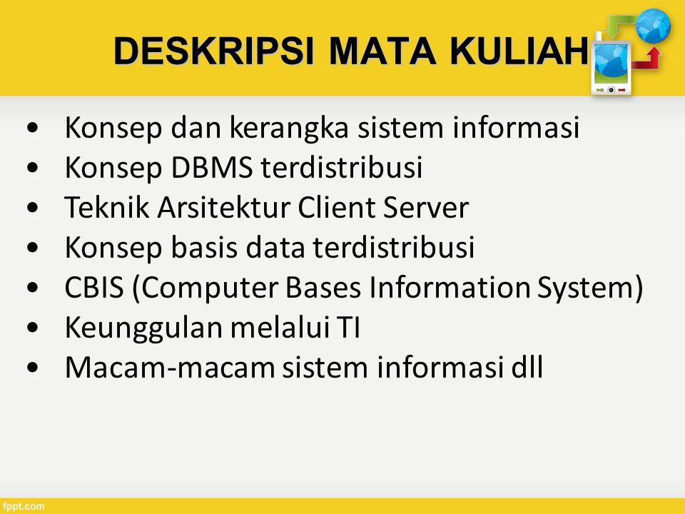 DESKRIPSI MATA KULIAH Konsep dan kerangka sistem informasi Konsep DBMS terdistribusi Teknik Arsitektur Client Server Konsep basis data terdistribusi CBIS (Computer Bases Information System) Keunggulan melalui TI Macam-macam sistem informasi dll