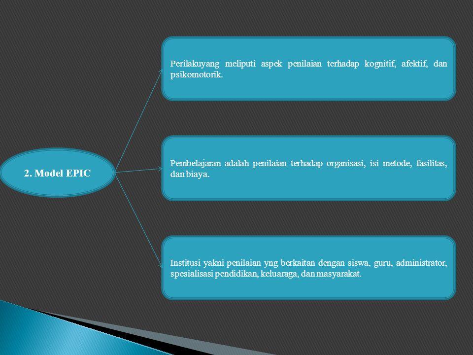 2.Model EPIC Perilakuyang meliputi aspek penilaian terhadap kognitif, afektif, dan psikomotorik.
