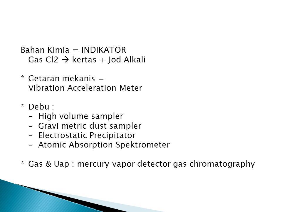 Bahan Kimia = INDIKATOR Gas Cl2  kertas + Jod Alkali *Getaran mekanis = Vibration Acceleration Meter *Debu : - High volume sampler - Gravi metric dust sampler - Electrostatic Precipitator - Atomic Absorption Spektrometer *Gas & Uap : mercury vapor detector gas chromatography