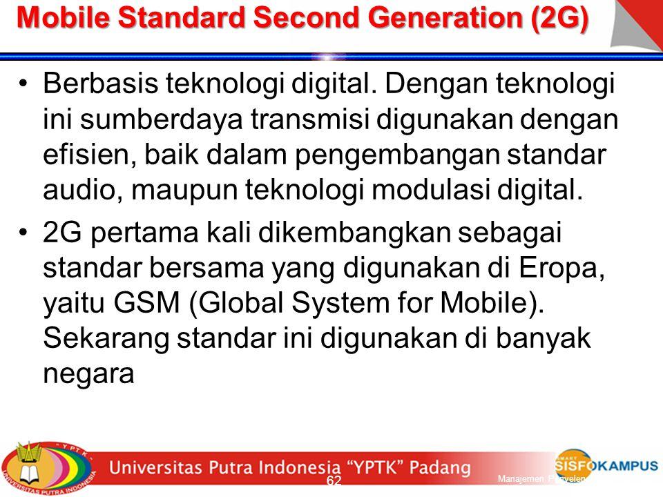 Mobile Standard First Generation (1G) Berbasis teknologi analog Standar yang berbeda dikembangkan di berbagai negara.