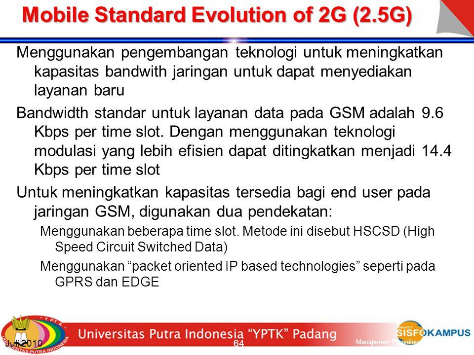 Other 2G Standards TDMA IS-136 Pengembangan dari teknologi analog AMPS.