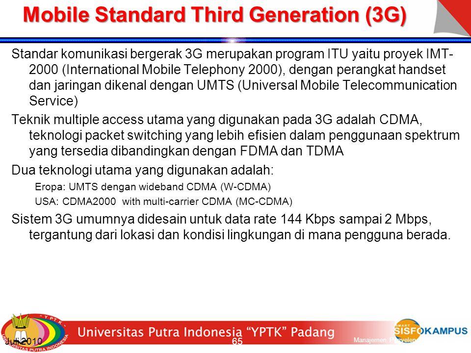 Mobile Standard Evolution of 2G (2.5G) Menggunakan pengembangan teknologi untuk meningkatkan kapasitas bandwith jaringan untuk dapat menyediakan layanan baru Bandwidth standar untuk layanan data pada GSM adalah 9.6 Kbps per time slot.