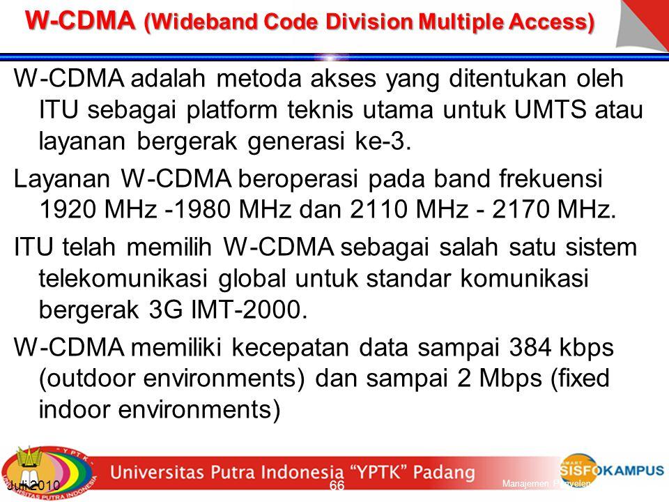 Mobile Standard Third Generation (3G) Standar komunikasi bergerak 3G merupakan program ITU yaitu proyek IMT- 2000 (International Mobile Telephony 2000), dengan perangkat handset dan jaringan dikenal dengan UMTS (Universal Mobile Telecommunication Service) Teknik multiple access utama yang digunakan pada 3G adalah CDMA, teknologi packet switching yang lebih efisien dalam penggunaan spektrum yang tersedia dibandingkan dengan FDMA dan TDMA Dua teknologi utama yang digunakan adalah: Eropa: UMTS dengan wideband CDMA (W-CDMA) USA: CDMA2000 with multi-carrier CDMA (MC-CDMA) Sistem 3G umumnya didesain untuk data rate 144 Kbps sampai 2 Mbps, tergantung dari lokasi dan kondisi lingkungan di mana pengguna berada.