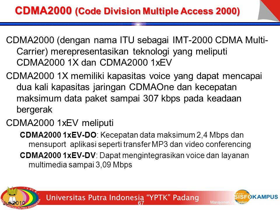 W-CDMA (Wideband Code Division Multiple Access) W-CDMA adalah metoda akses yang ditentukan oleh ITU sebagai platform teknis utama untuk UMTS atau layanan bergerak generasi ke-3.