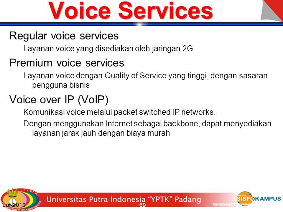 Mobile Services 1G and 2G digunakan untuk layanan voice yang berbasis circuit switched network.