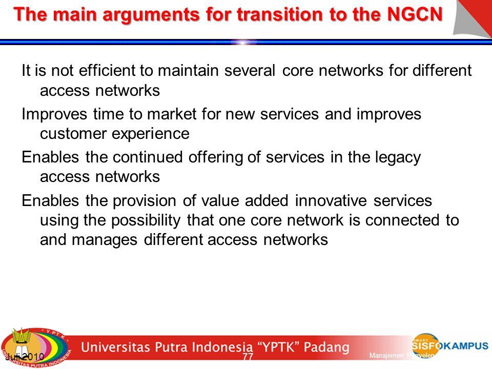 Next Generation Core Networks (NGCN) 76 Manajemen Penyelenggaraan Jaringan Semester Ganjil 2010-2011 Juli 2010