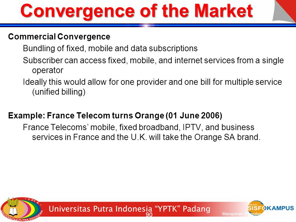 Convergence Telecom Industry Computer Industry Media Industry Wireline PSTN ISDN Mobility Wireless/Cellular WAP 3G/Wireless Internet MMM Main frames D