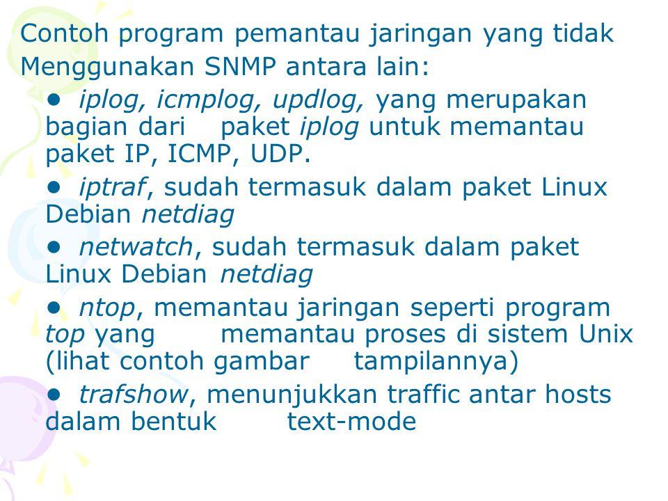 Contoh program pemantau jaringan yang tidak Menggunakan SNMP antara lain: iplog, icmplog, updlog, yang merupakan bagian dari paket iplog untuk memanta