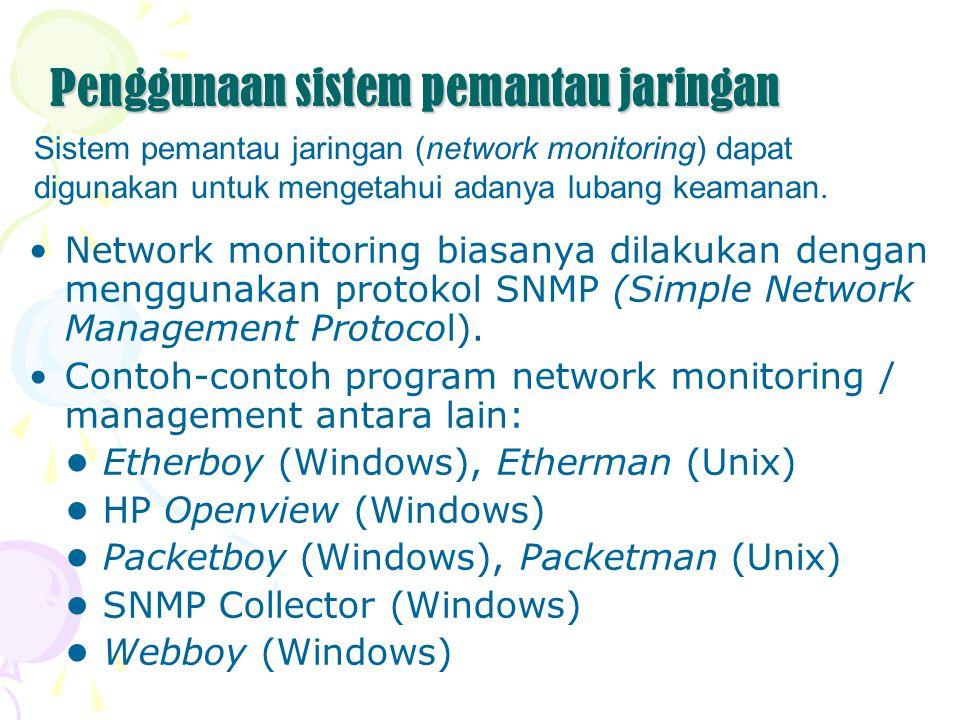 Penggunaan sistem pemantau jaringan Network monitoring biasanya dilakukan dengan menggunakan protokol SNMP (Simple Network Management Protocol). Conto