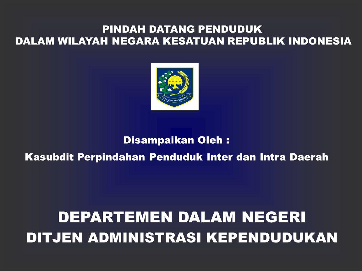 DEPARTEMEN DALAM NEGERI DITJEN ADMINISTRASI KEPENDUDUKAN PINDAH DATANG PENDUDUK DALAM WILAYAH NEGARA KESATUAN REPUBLIK INDONESIA Disampaikan Oleh : Kasubdit Perpindahan Penduduk Inter dan Intra Daerah