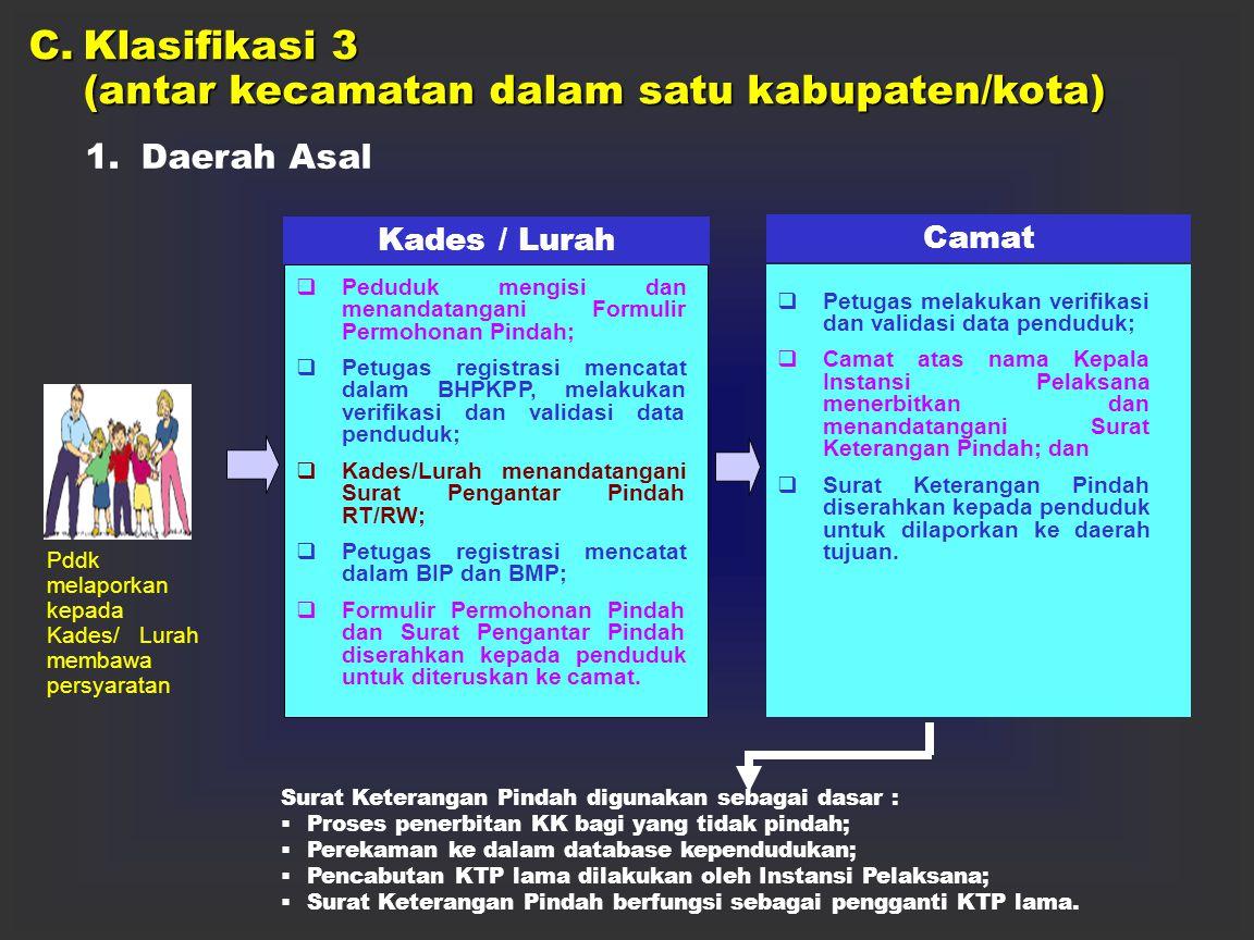 2.Daerah Tujuan Pddk melaporkan kepada Kades/Lurah membawa :  Surat Keterangan Pindah Kades / Lurah  Pddk mengisi dan menandatangani Formulir Permoh